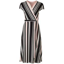 Sandra Darren Womens Striped Short Sleeve Tie Maxi Dress