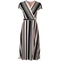 Womens Striped Short Sleeve Tie Maxi Dress