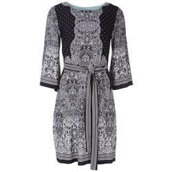Sandra Darren Womens Tie Front 3/4 Sleeve Dress