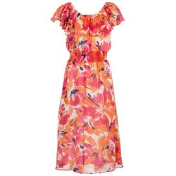 Sandra Darren Womens Off The Shoulder Midi Dress