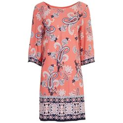 Sandra Darren Womens 3D Paisley 3/4 Sleeve Dress