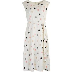 Sandra Darren Womens Polka Dot Short Sleeve Tie Dress