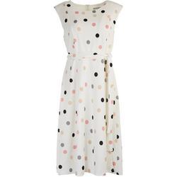 Womens Polka Dot Short Sleeve Tie Dress