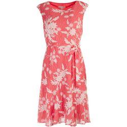 Sandra Darren Womens Printed Lace Wrap Tie Front Dress