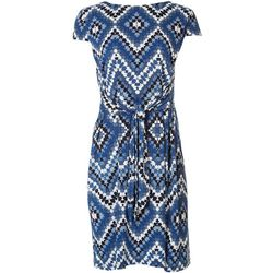 Sandra Darren Womens Chevron Tie Front Dress