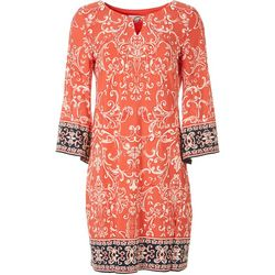 Sandra Darren Womens Ring Neck Embroided Print Dress