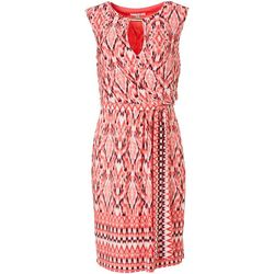 Sandra Darren Womens Printed Wrap Tie Front Dress