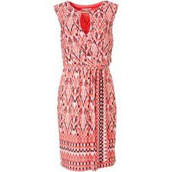 Sandra Darren Womens Printed Wrap Tie Front Dress