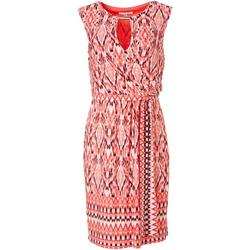 Womens Printed Wrap Tie Front Dress