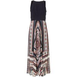Sandra Darren Womens Floral and Solid Print Maxi Dress