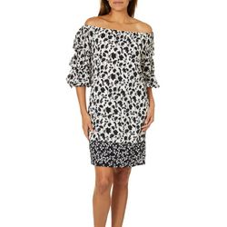 MSK Womens Mixed Floral Off The Shoulder Dress