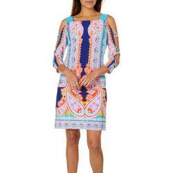 MSK Womens Paisley Caged Cold Shoulder Dress