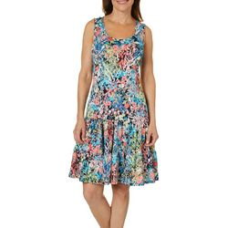 MSK Womens Ruffled Painted Floral Sundress