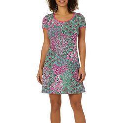 MSK Womens Mixed Floral T-Shirt Dress