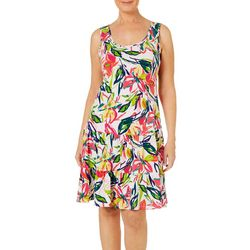MSK Womens Ruffled Tropical Floral Print Sundress