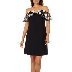 MSK Womens Embroidered Floral Off The Shoulder Dress