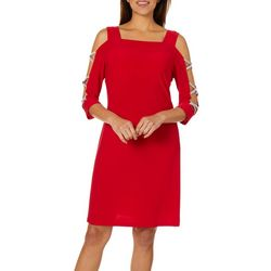 MSK Womens Embellished Cold Shoulder Shift Dress