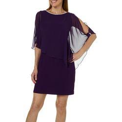 MSK Womens Glitzy Slit Sleeve Poncho Dress