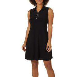 MSK Womens Solid Zip Neck Sleeveless Swing Dress
