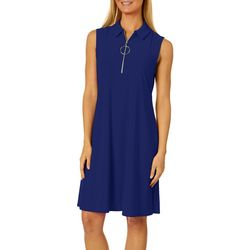 MSK Womens Solid Zip Neck Sleeveless Swing Dress