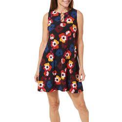 MSK Womens Blooming Floral Print Ring Neck Sleeveless Dress