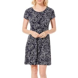MSK Womens Roses Puff Print Short Sleeve T-Shirt Dress