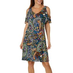MSK Womens Paisley Print Cold Shoulder Dress