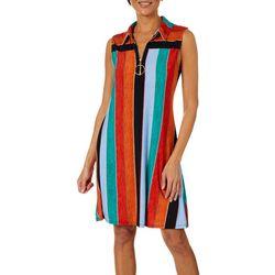 MSK Womens Stripe Print Zip Neck Swing Dress