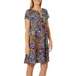 MSK Womens Floral Paisley Ring Neck Short Sleeve Dress