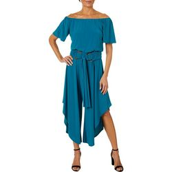 MSK Womens Solid Round Belted Off The Shoulder Jumpsuit