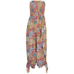 Ivy Road Womens Floral Smocked Tube Jumpsuit
