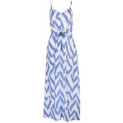 Womens Zig-Zags Zippered Maxi Dress