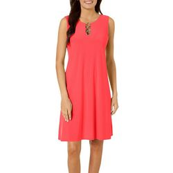 MSK Womens Solid Ring Neck Sleeveless Dress