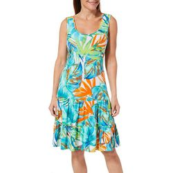 MSK Womens Ruffled Tropical Palm Leaf Sundress