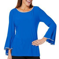 MSK Womens Glitzy Bell Sleeve Top