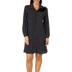 MSK Womens Dot Print Button Down Shirtdress