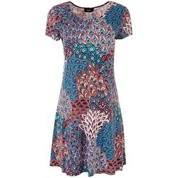 MSK Womens 3-Ring Floral Short Sleeve Dress