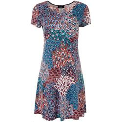 Womens 3-Ring Floral Short Sleeve Dress