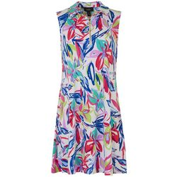 MSK Womens Printed Quarter Zip Sleeveless Dress