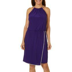 MSK Womens Solid Glitzy Halter Blouse Dress