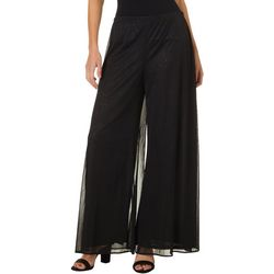 MSK Womens Glitter Mesh Wide Leg Pants