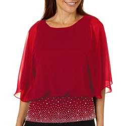 MSK Womens Solid Embellished Band Top