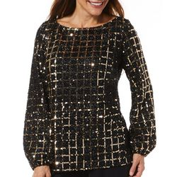 MSK Womens Glitzy Sequin Cape Top