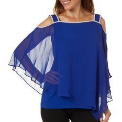 MSK Womens Glitzy Cold Shoulder Poncho Top