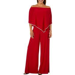 MSK Womens Solid Off The Shoulder Embellished Jumpsuit