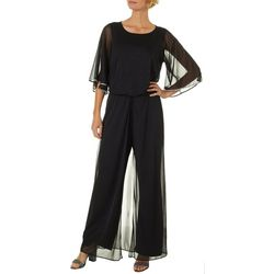 MSK Womens Glitzy Round Neck Jumpsuit
