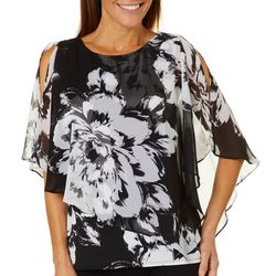 MSK Womens Floral Asymmetrical Poncho Top