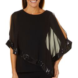 MSK Womens Glitzy Asymmetrical Poncho Top