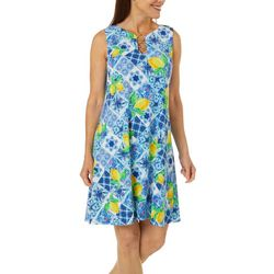 MSK Womens Floral & Lemon Print Ring Neck Dress