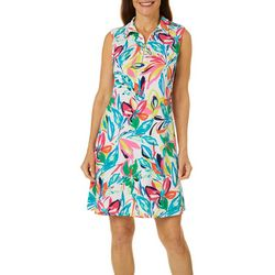 MSK Womens Floral Design Zip Neck Sleeveless Swing Dress